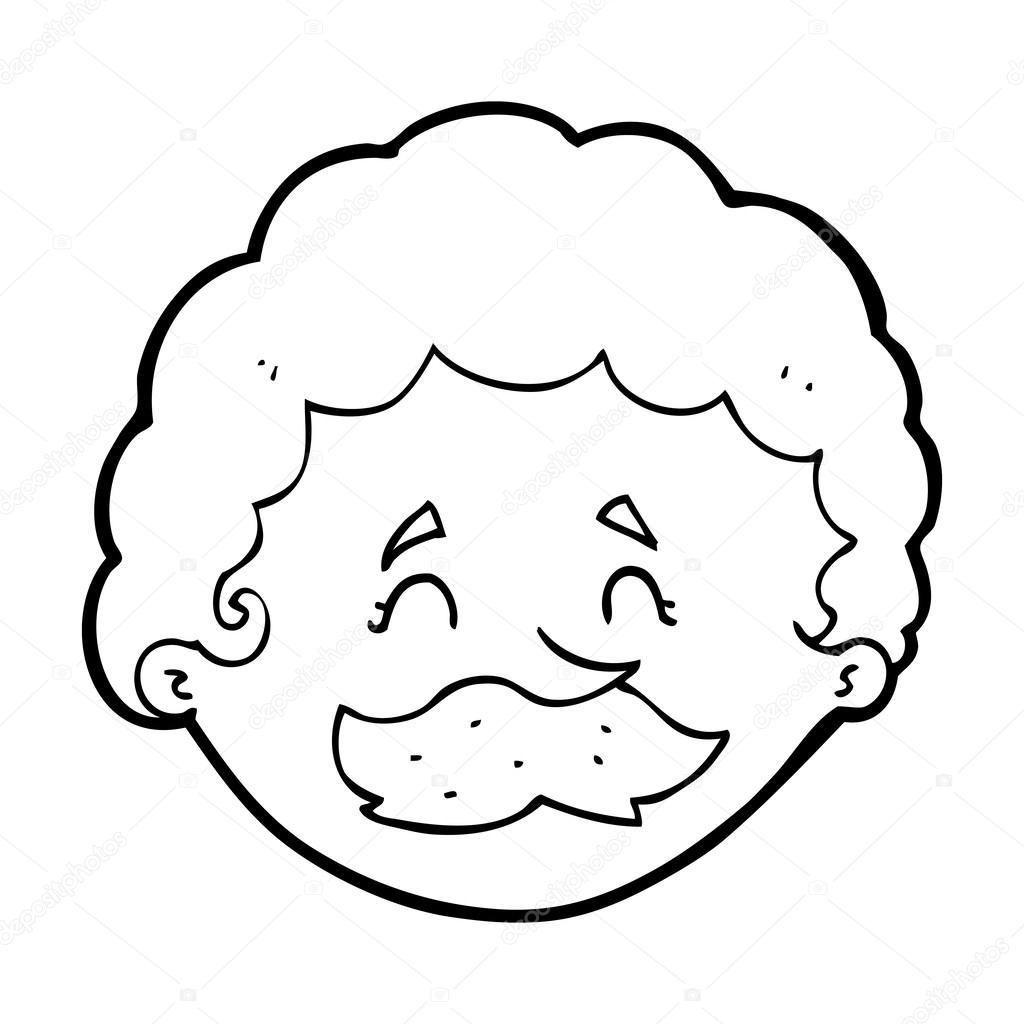 Uomo di cartone animato con i baffi — vettoriali stock