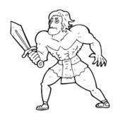 Cartoon fantasy hero man — Stock Vector