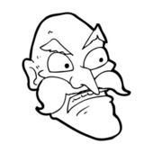 Cartoon angry old man — ストックベクタ