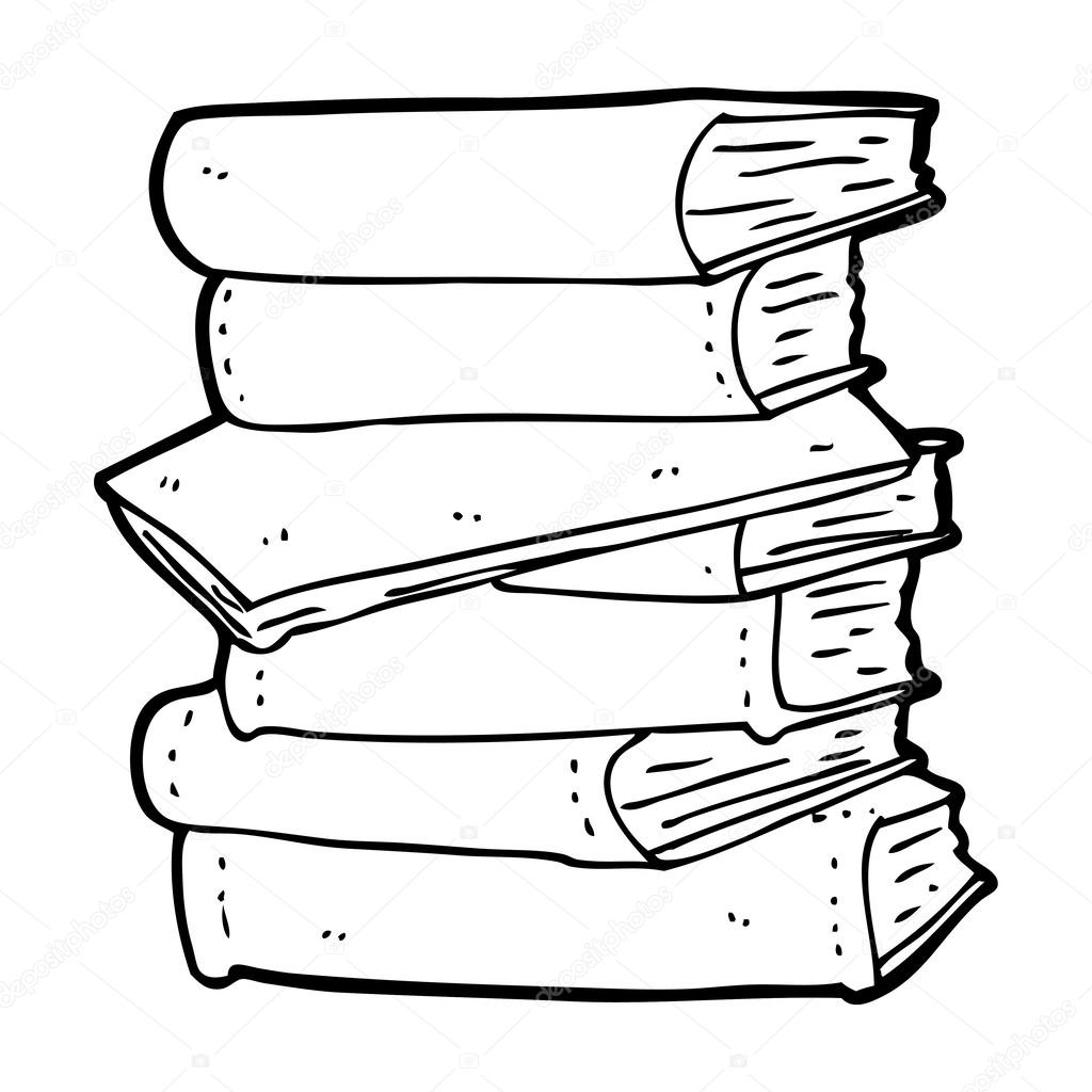 Books Cartoon Drawing Cartoon Pile of Books — Vector
