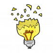 Stock Vector: Cartoon light bulb exploding
