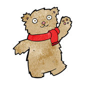 Cartoon teddy bear wearing scarf — Stockvektor