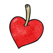 Cartoon love heart apple — Stock Vector