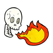 Cartoon fire breathing skull — Stok Vektör