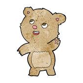 Cartoon cute waving teddy bear — Vettoriale Stock