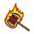 Stock Vector: Cartoon flaming axe