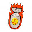 Stock Vector: Cartoon flaming bomb