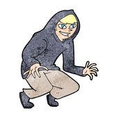 Cartoon mischievous boy in hooded top — Vector de stock