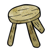 Cartoon wooden stool — Stock Vector