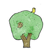Cartoon tree with birdhouse — Stockvektor