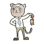 Cartoon business cat with dead mouse — Wektor stockowy