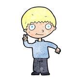 Cartoon boy giving peace sign — Stockvektor