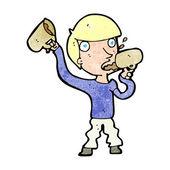 Cartoon man drinking beer — Stock Vector