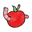 Stock Vector: Cartooon worm in apple
