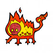 Stok Vektör: Cartoon little fire demon