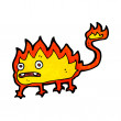 Stock Vector: Cartoon little fire demon