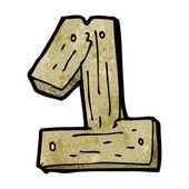 De dibujos animados de madera número uno — Vector de stock