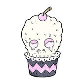Spooky skull cupcake cartoon — Stock Vector
