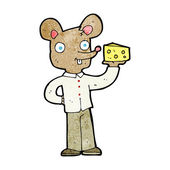 Cartoon mouse holding cheese — Stock Vector