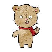 Cartoon waving teddy bear with scarf — 图库矢量图片