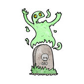Cartoon ghost rising from grave — Stock Vector