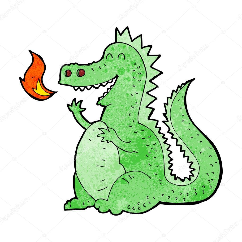 Drago sputa fuoco di cartone animato — vettoriali stock