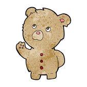 Cartoon viftande nallebjörn — Stockvektor
