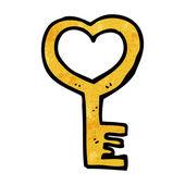Cartoon heart shaped key — Stock Vector