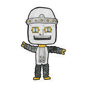 Cartoon waving robot — Stock vektor