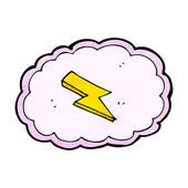 Cartoon cloud and lightning bolt symbol — ストックベクタ