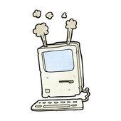 Computer vecchio fumetto — Vettoriale Stock