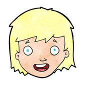 Cartoon happy female face — Vector de stock