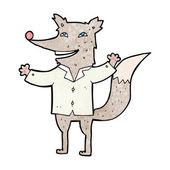 Cartoon happy wolf wearing shirt — Vector de stock