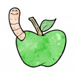 Stock Vector: Cartoon apple with worm