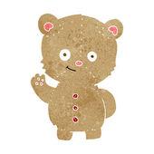 Cartoon teddy bär winken — Stockvektor
