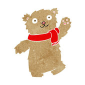 Cartoon teddy bear wearing scarf — Vector de stock