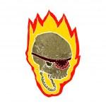 Cartoon flaming pirate skull — Stock Vector #41147295