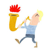 Cartoon man blowing saxophone — Stok Vektör