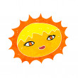 Stock Vector: Cartoon pretty sun