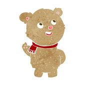 Cartoon cute teddy bear with scarf — Stock Vector