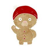 Cartoon waving teddy bear in winter hat — Stock Vector