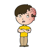 Cartoon boy with growth on head — Stock Vector