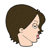 Cartoon woman raising eyebrow — Stock Vector