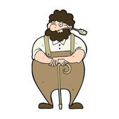 Cartoon farmer leaning on walking stick — Stok Vektör