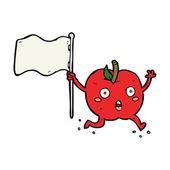 Cartoon funny apple with flag — Stockvector