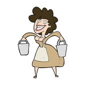 Cartoon milkmaid carrying buckets — Stock Vector