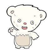 Cartoon polar bearcub waving — Stock Vector