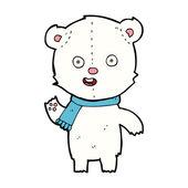 Cartoon waving polar bear cub with scarf — Stock Vector