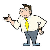 Cartoon businessman asking question — Stock Vector