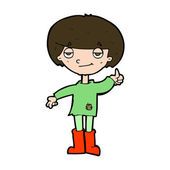 Cartoon boy in poor clothing giving thumbs up symbol — Vettoriale Stock